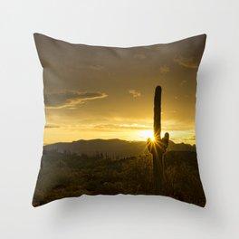 A Golden Saguaro Sunrise Throw Pillow