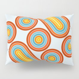 Retro Motion 2 – Orange / Yellow / Blue Abstract Stripe Pattern Pillow Sham