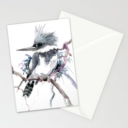 Belted Kingfisher, Gray design, Gray design Stationery Cards