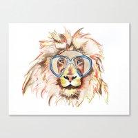 scuba Canvas Prints featuring Scuba Lion by Kristen Williams