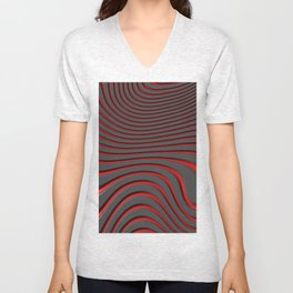 Organic Abstract 02 RED Unisex V-Neck