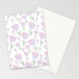 Tulips - pink and ultra violet Stationery Cards