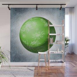 Green snowflake Sphere Wall Mural
