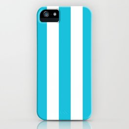 Caribbean blue - solid color - white vertical lines pattern iPhone Case