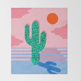 No Foolin - retro throwback neon art design minimal abstract cactus desert palm springs southwest  Throw Blanket