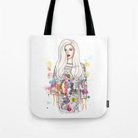 selena gomez Tote Bags featuring selena illustration by sparklysky