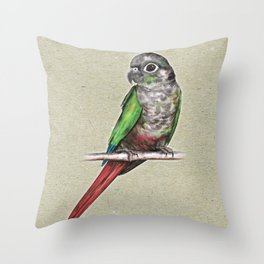 Green-cheeked conure Throw Pillow