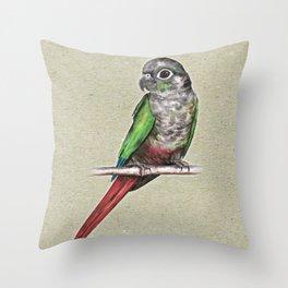 Green-cheeked conure Throw Pillow