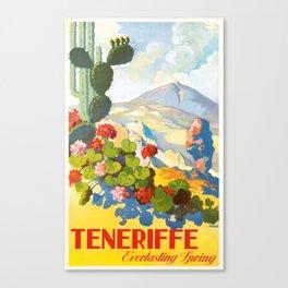 1945 Tenerife Everlasting Spring Spain Travel Poster Canvas Print