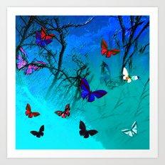 Butterflies in landscape series Art Print