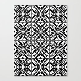 Moroccan Tile Pattern in Black and White Canvas Print