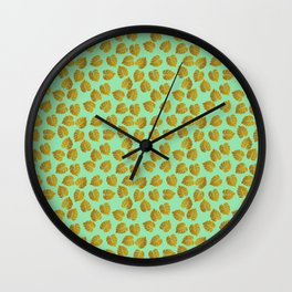 Gold Metallic Foil Monstera Leaves on Mint Wall Clock