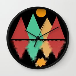Moon Over Four Peaks Wall Clock