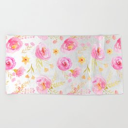 Delicate Poppy Pattern Beach Towel