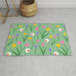 Colorful spring flowers on sage green pattern Rug