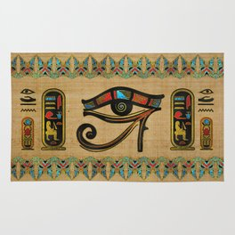 Egyptian Eye of Horus Ornament on papyrus Rug