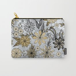 Elegant Girly Gold & Silver Glitter Floral Design Carry-All Pouch
