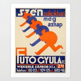 Hungarian vintage poster, Szén Zsákokban Art Print
