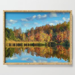 Vibrant Autumn Reflections Serving Tray
