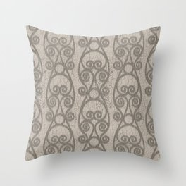 Crackled Scrolled Ikat Pattern - Tan Mocha Throw Pillow