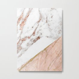 Marble rose gold blended Metal Print