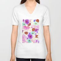 oriental V-neck T-shirts featuring Oriental blossom by Federico Faggion