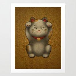 maneki-neko | Lucky Cat (White) Art Print