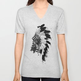 black and white headdress Unisex V-Neck