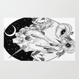 Unicorn skull of night Rug