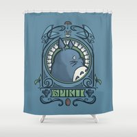 hallion Shower Curtains featuring Forest Spirit Nouveau by Karen Hallion Illustrations