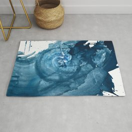 4 am Thoughts [3]: a minimal abstract painting in blue by Alyssa Hamilton Art Rug