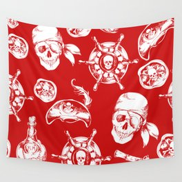 Red Pirate Pattern Wall Tapestry