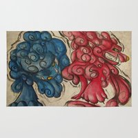 foo fighters Area & Throw Rugs featuring Foo Dogs by Easley