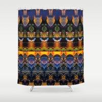 the life aquatic Shower Curtains featuring Aquatic by Zandonai Pattern Designs