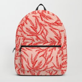Red Coral Ferns Backpack