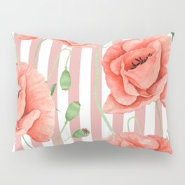 Poppies Dusty Pink Stripes Pillow Sham