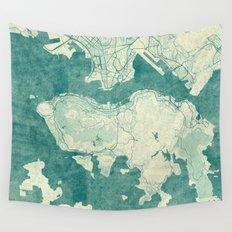 Hong Kong Map Blue Vintage Wall Tapestry