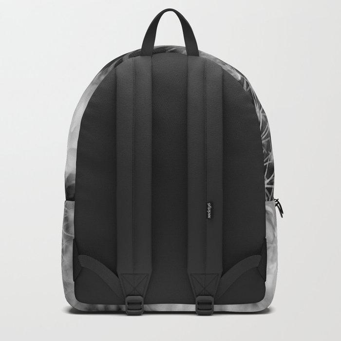 Hedgehog Cactus In Bloom II - Black and White Backpack