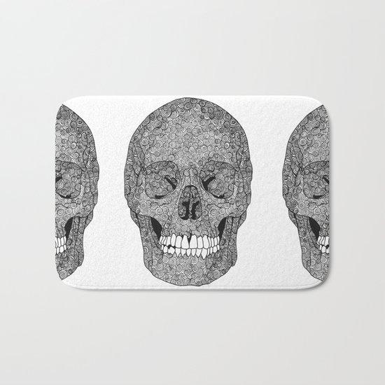 Skull and Spirals - WHITE Bath Mat