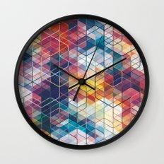Cuben Curved #5 Geometric Art Print. Wall Clock