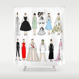 Outfits of Audrey Fashion (White) Shower Curtain