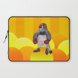 The Energetic Zebra Finch with Boxing Gloves Laptop Sleeve