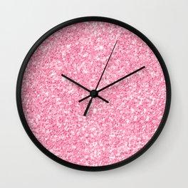 Pink Glitter Texture print Wall Clock