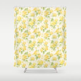 Modern Sunshine Yellow Green Hortensia Flowers Shower Curtain