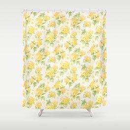 Modern  sunshine yellow green hortensia flowers Shower Curtain