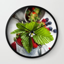 Fresh Berries on Wooden Background Wall Clock