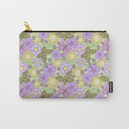 Bright floral pattern with butterflies. Carry-All Pouch