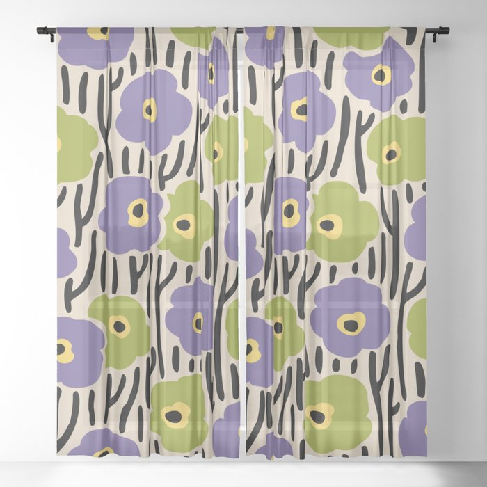 Mid Century Modern Wild Flowers Pattern Purple and Green Sheer Curtain