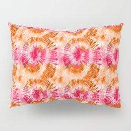 Summer Vibes Tie Dye Spirals Magenta Orange Pillow Sham