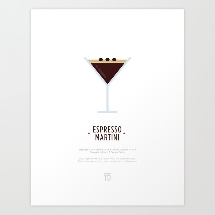 Espresso Martini Cocktail Recipe Art Print White Art Print By Typeandtails Society6